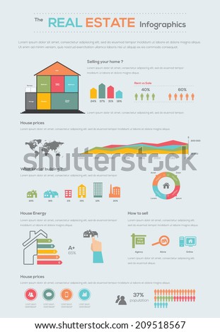 Real estate Infographic. House selling. Vector illustration - stock vector