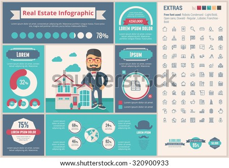 Real Estate infographic template and elements. The template includes illustrations of hipster men and huge awesome set of thin line icons. Modern minimalistic flat vector design. - stock vector