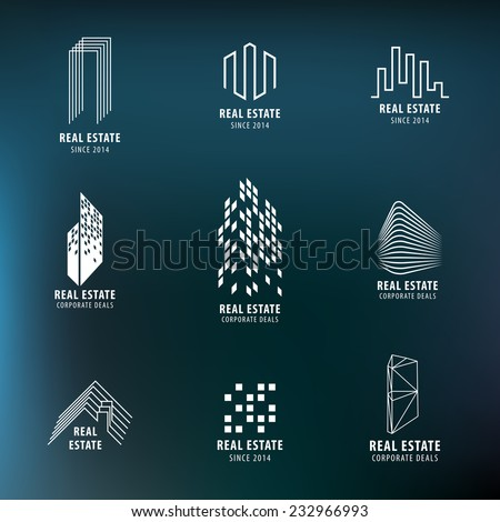 Real Estate labels set. Modern architecture, City Skyline, buildings, skyscrapper, house icons. Vector design. - stock vector