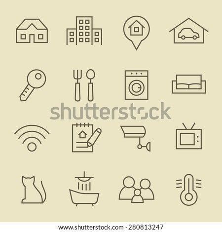 Real Estate line icon set - stock vector