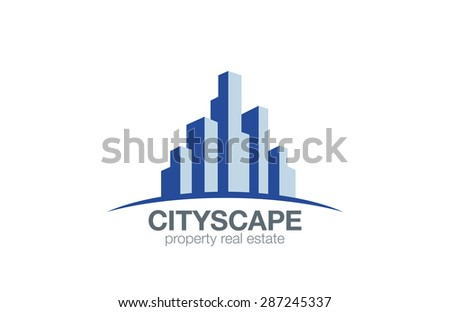Real Estate Logo Buildings on the horizon design vector template. Cityscape Construction Realty Logotype. Skyscrapers Architecture icon. - stock vector