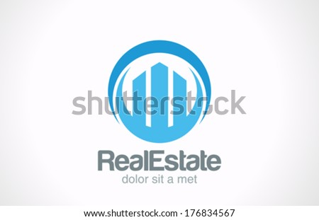 Real Estate logo design template. Skyscrapers abstract creative concept symbol. Business Commercial property Realty vector icon sign. - stock vector