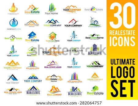 Real Estate Logo Set / Creative House Logo Collection / Abstract Buildings Logo Set - stock vector