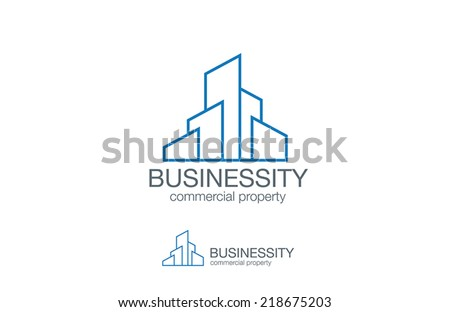 Real Estate Logo vector design template. Skyscrapers on horizon realty icon. Business city Commercial property logotype concept. - stock vector