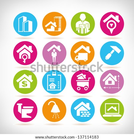 real estate management icon set - stock vector