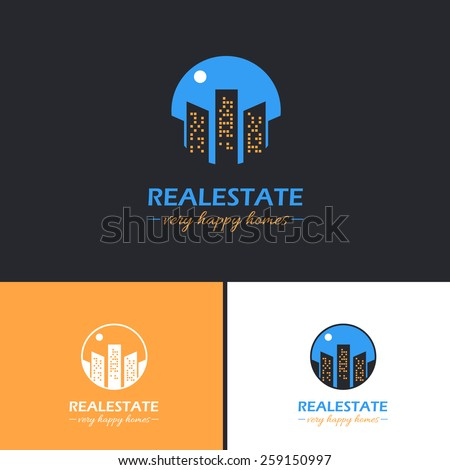 Real Estate Moon or Sun Effect Vector Icons, Logos, Sign, Symbol Template  - stock vector