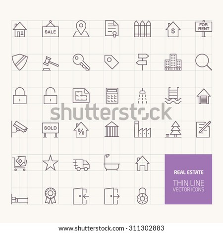 Real Estate Outline Icons for web and mobile apps - stock vector