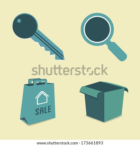 real estate over beige   background vector illustration  - stock vector