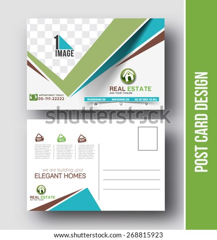 Real estate Postcard Design vector template for Opening invitation. - stock vector