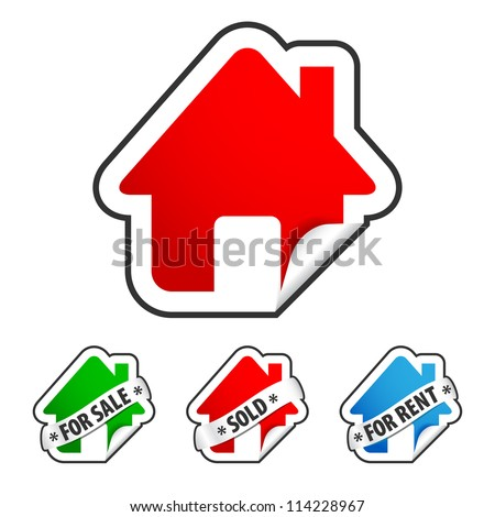 Real estate sticker set. three home badges glued to white background. green sticker with FOR SALE ribbon, red with SOLD and blue home with FOR RENT sign - stock vector