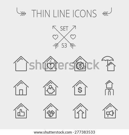 Real Estate thin line icon set for web and mobile. Set includes- housing loan, mortgage, contoured house, saving, house insurance, broker, house alarm icons. Modern minimalistic flat design. Vector - stock vector