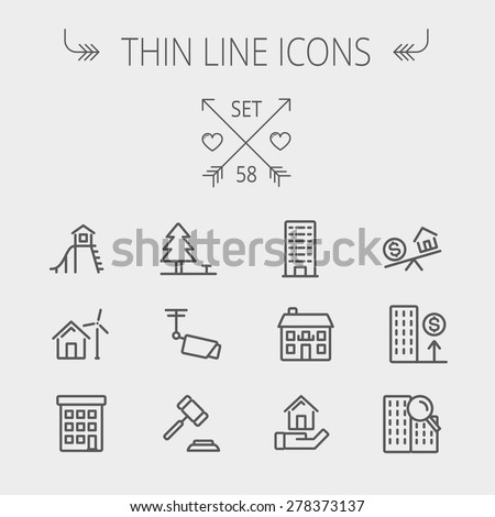 Real estate thin line icon set for web and mobile. Set includes- pine tree, antenna, gavel, playhouse, windmill, buildings icons. Modern minimalistic flat design. Vector dark grey icon on light grey - stock vector