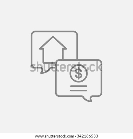 Real estate transaction line icon for web, mobile and infographics. Vector dark grey icon isolated on light grey background. - stock vector