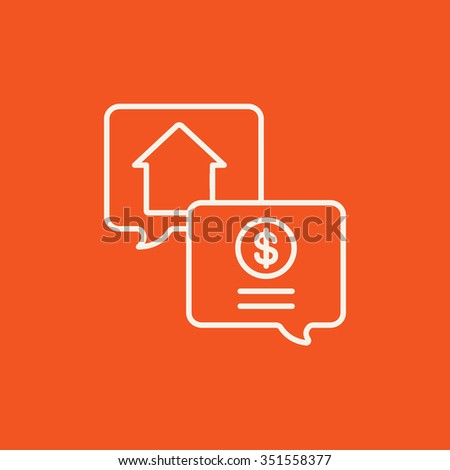 Real estate transaction line icon for web, mobile and infographics. Vector white icon isolated on red background. - stock vector