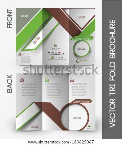 Real Estate Tri-Fold Mock up & Brochure Design - stock vector