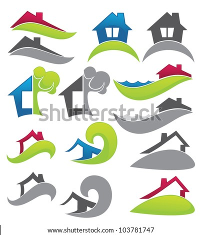 real estate, vector collection of property symbols - stock vector