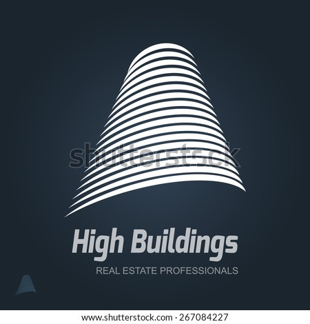 Real Estate Vector Icon. Business sign template for Real Estate, brokerage, building & renovation, architecture bureau. Business graphics. Corporate web site or business card element. Sample text.  - stock vector
