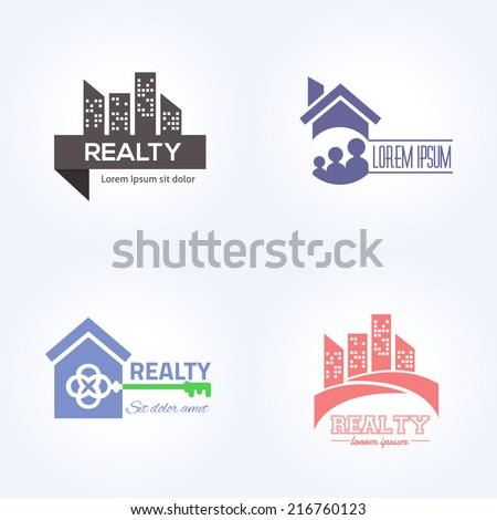 Real Estate Vector Icons, Logos, Sign, Symbol Template Set - stock vector