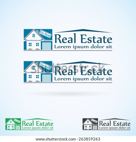 Real Estate vector logo design template color set. House abstract concept icon. Realty construction architecture symbol. - stock vector
