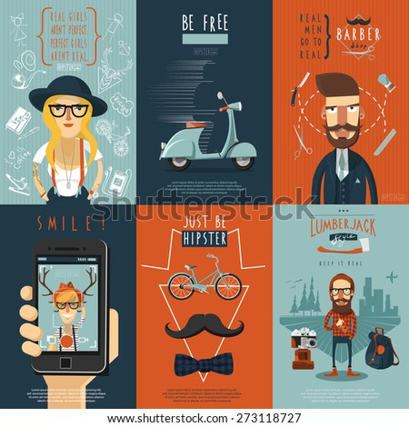 Real free hipster in skinny jeans barber shop scooter flat icons composition poster abstract isolated vector illustration - stock vector
