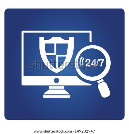real time protection, real time security - stock vector