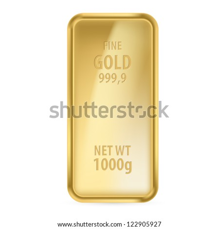 Realictick gold bar on the white background - stock vector