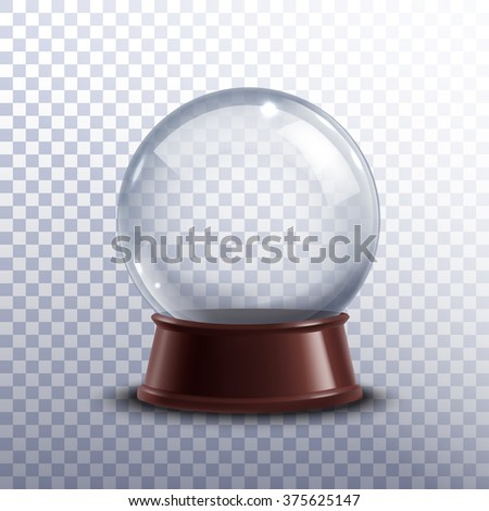 Realisitc 3d snow globe toy isolated on transparent background vector illustration - stock vector