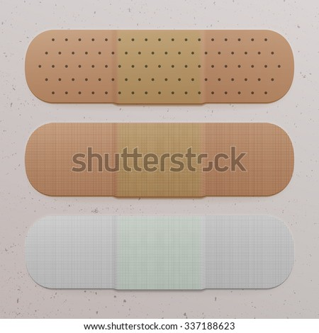 Realistic adhesive Bandage Set, medical and healthcare Objects. Vector Illustration - stock vector
