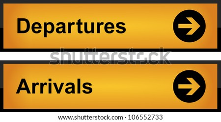 Realistic airport sign - arrivals and departures - stock vector