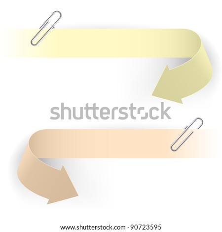 Realistic Arrows and Clips. Illustration on white background. - stock vector
