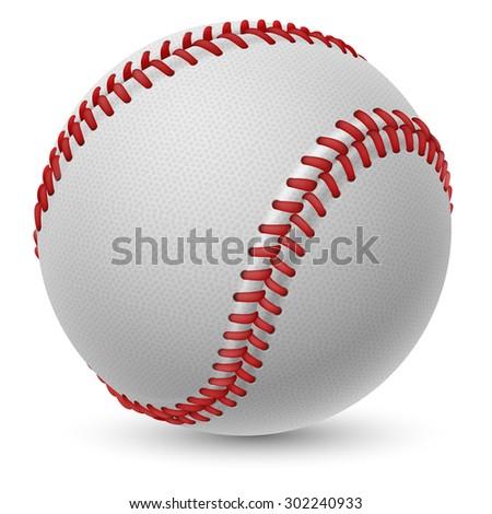 Realistic baseball on white background for design - stock vector