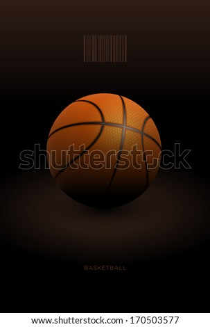 Realistic basketball ball in the dark. Vector illustration. - stock vector