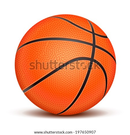 Realistic basketball ball isolated on white background. Vector illustration - stock vector