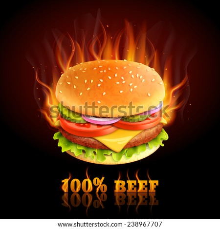Realistic beef hamburger in fire hot fast food background vector illustration - stock vector