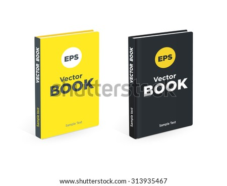 Realistic black and yellow books on the white background. Realistic book mockups. - stock vector