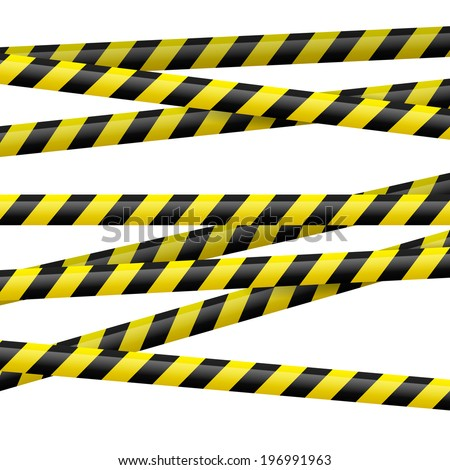 Realistic black and yellow danger tape. Illustration on white background  - stock vector
