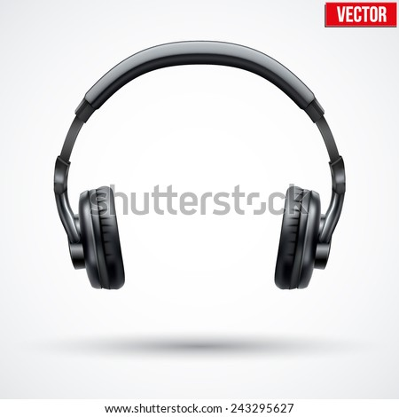 Realistic black Headphones. Vector Illustration Isolated on White Background - stock vector