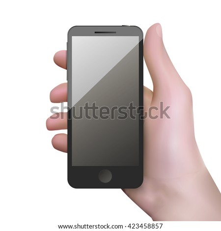 Realistic black mobile phone with blank screen in hand - stock vector