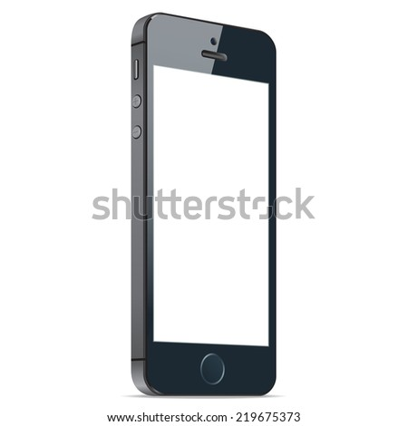 Realistic black mobile phone with blank screen isolated on white background. Modern concept smartphone device with digital display. Vector illustration EPS 10 - stock vector