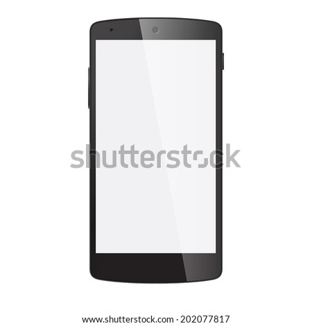 Realistic black mobile phone with blank screen isolated on white. Vector EPS10 - stock vector
