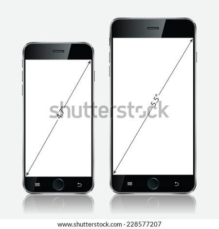 Realistic black mobiles phones with blank screen isolated on white background. Modern concept smartphone devices with digital display. Vector illustration EPS 10 - stock vector