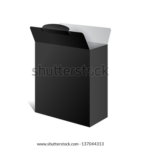 Realistic Black Package Box Opened. For Software, electronic device and other products. Vector illustration - stock vector