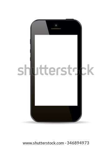 Realistic black smartphone in iphone style with blank screen isolated on white background. Vector illustration. - stock vector
