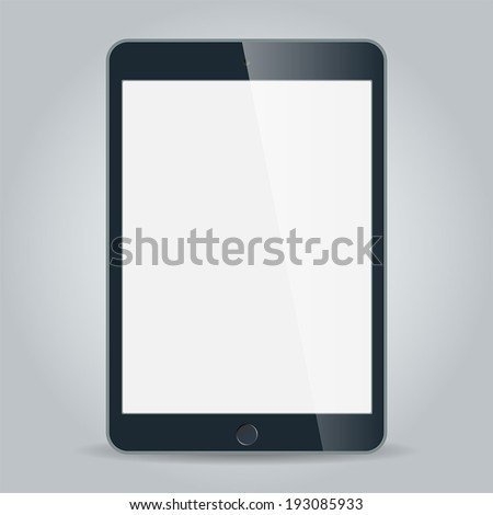 Realistic black tablet with blank screen in similar to ipad style isolated on white. Vector EPS10 - stock vector