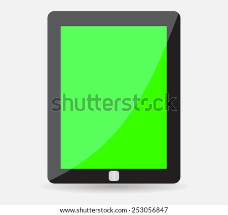 Realistic black tablet with green blank screen - stock vector