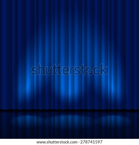 Realistic blue curtain. Illustration for creative design - stock vector