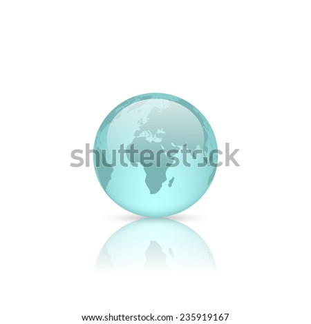 Realistic blue glass globe isolated on white. Vector illustration. - stock vector