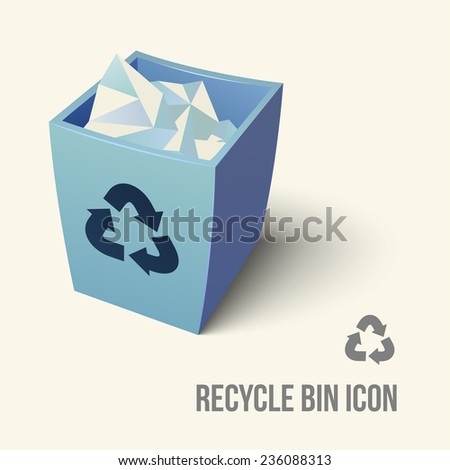 realistic blue recycle bin icon. None stroke, cartoon flat style. Vector illustration.  - stock vector