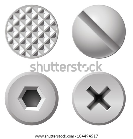 Realistic bolts of different shapes. Illustration on white background - stock vector