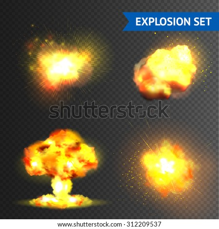 Realistic bomb or fireworks explosions set isolated on transparent background vector illustration - stock vector